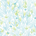 Blue bamboo branches seamless pattern background vector with hand drawn elements Stock Images