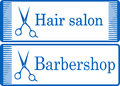 Blue barbershop signboard two with comb and profeccionalk scissors Royalty Free Stock Photo
