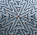 Blue bargello needlepoint pillow detail close up of a four way stitched in persian wool in a color way is a form of needlework Royalty Free Stock Image