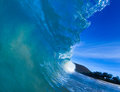 Blue barreling wave Stock Photography