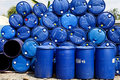 Blue barrels for gasoline Stock Image