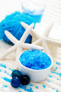 Blue bath salt Royalty Free Stock Photos