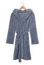 Blue bathrobe it is a with hood Royalty Free Stock Photos