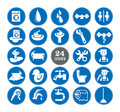 Blue bathroom Icons Set Royalty Free Stock Photo