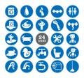 Blue bathroom Icons Set Royalty Free Stock Photo