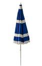 Blue beach umbrella isolated on white Royalty Free Stock Photo