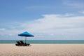 Blue beach umbrella Royalty Free Stock Photo