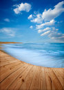 Blue beach wooden floor and in terengganu west malaysia Stock Images