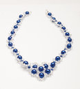 Blue beads necklaces with swarovski crystals expensive Stock Images