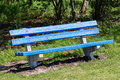 Blue bench in a public park Royalty Free Stock Photo