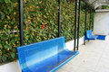 Blue benches Stock Photos