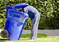 Blue Bin Man Stock Photography
