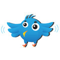 Blue bird cute cartoon animal Stock Images