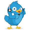 Blue bird listening to music clipart picture of a cartoon character Royalty Free Stock Image