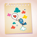 Blue bird love message note paper cartoon sketch sending Royalty Free Stock Photo