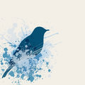 Blue bird and nest abstract ink Stock Images