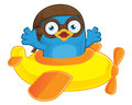 Blue bird pilot in plane clipart picture of a cartoon character Royalty Free Stock Photography