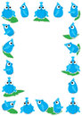 Blue Bird Playing Leaf Frame_eps Stock Image