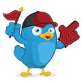 Blue bird supporter clipart picture of a cartoon character Royalty Free Stock Photography