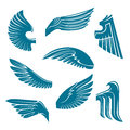 Blue bird wings heraldic design elements tucked and spread vintage symbols of feathered of eagle swan falcon or raven with tribal Stock Images