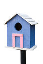 Blue birdhouse on a white background Royalty Free Stock Images