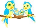 Blue birds family Royalty Free Stock Photo