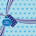 Blue birthday ribbon Royalty Free Stock Photo