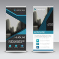Blue black roll up business brochure flyer banner design , cover presentation abstract geometric background, modern publication