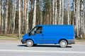Blue blank delivery van Royalty Free Stock Photo