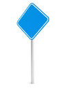 Blue blank rectangle traffic sign isolated on white d illustration Royalty Free Stock Photography