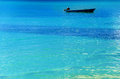 Blue Boat, Blue Water Stock Photo