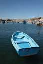 Blue Boat in Kalkara Creek Royalty Free Stock Images