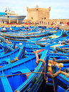 Blue boats of essaouira morocco beautiful in old harbor Royalty Free Stock Photos