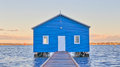 Blue Boatshed Royalty Free Stock Photo