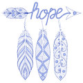 Blue Bohemian Arrow, Hope Amulet with henna feathers. Decorative Royalty Free Stock Photo