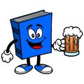 Blue book with beer cartoon illustration of a a Stock Photos