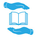Blue book icon in flat hands Royalty Free Stock Photo