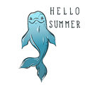 Blue bottle nose sea dolphin sketch with calligraphy Hello summer in hand drawn doodle style. Vector illustration for Royalty Free Stock Photo