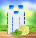 Blue bottles with water, mint herb and fresh green lime over nat Royalty Free Stock Photo