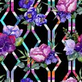 Blue bouquet flowers. Floral botanical flower. Seamless background pattern. Royalty Free Stock Photo