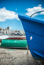 Blue bow of a fishing boat in the south of italy Royalty Free Stock Images