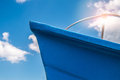 Blue bow of a fishing boat in the south of italy Royalty Free Stock Photos