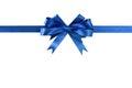 Blue bow gift ribbon straight horizontal Royalty Free Stock Photo