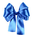 Blue bow made from silk ribbon isolated Royalty Free Stock Photography