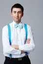 Blue Bow Tie and Brases. Royalty Free Stock Photo