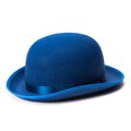 A blue bowler hat on a white background Royalty Free Stock Photo