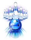 Blue bowling ball in motion and the pins front of Royalty Free Stock Images