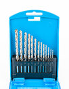 Blue box set of drill bits Royalty Free Stock Photo