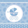 Blue boy baby stroller Royalty Free Stock Photo