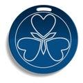 Blue brand emblem icon, realistic style